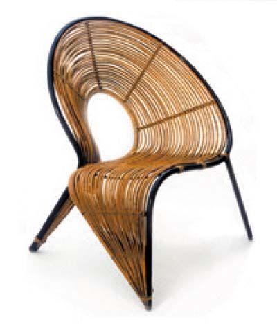 silla vintage wicker chair by Polish interior architect and designer WŁADYSŁAW WOŁKOWSKI (1902-1986)