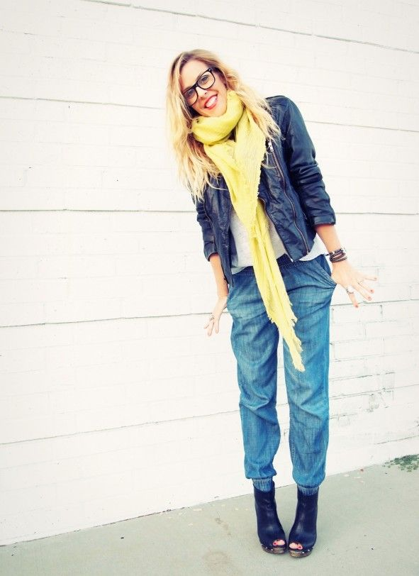Yellow scarf and leather jacket