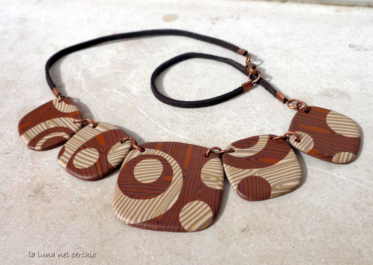 collana faux wood in pasta polimerica