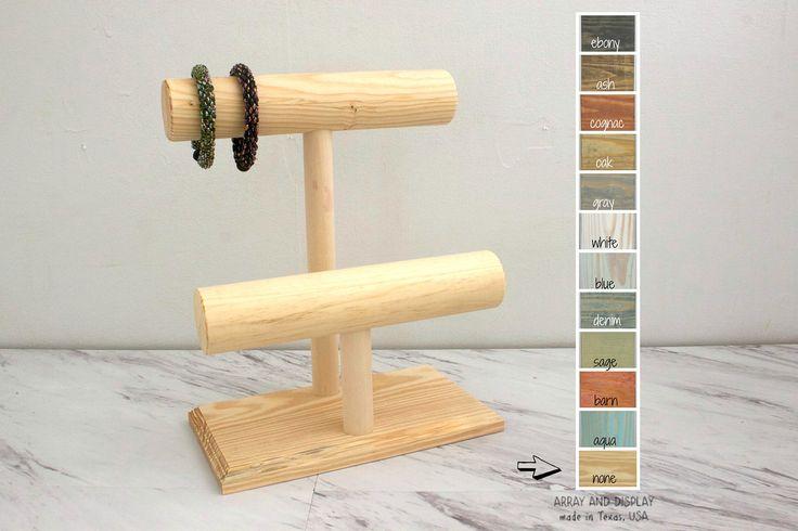 Mostrar la pantalla de madera de la joyería pulsera de madera