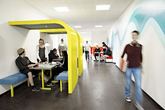 CAMPUS GENTOFTE by Rosan Bosch. Working booths in the corridor / Photo: Kim Wendt