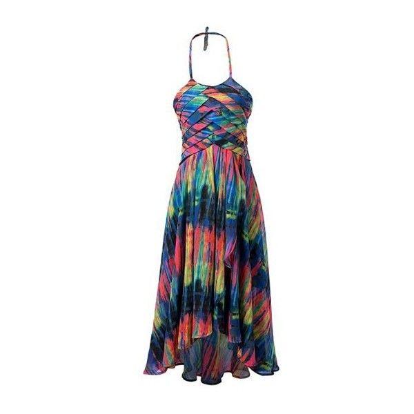 Rotita Layered Multi Color Halter Bohemian Dress ($40) ❤ liked on Polyvore featuring dresses, multi color, high waist dress, bohemian dress, halter-neck dress, boho chic dresses and halter dress