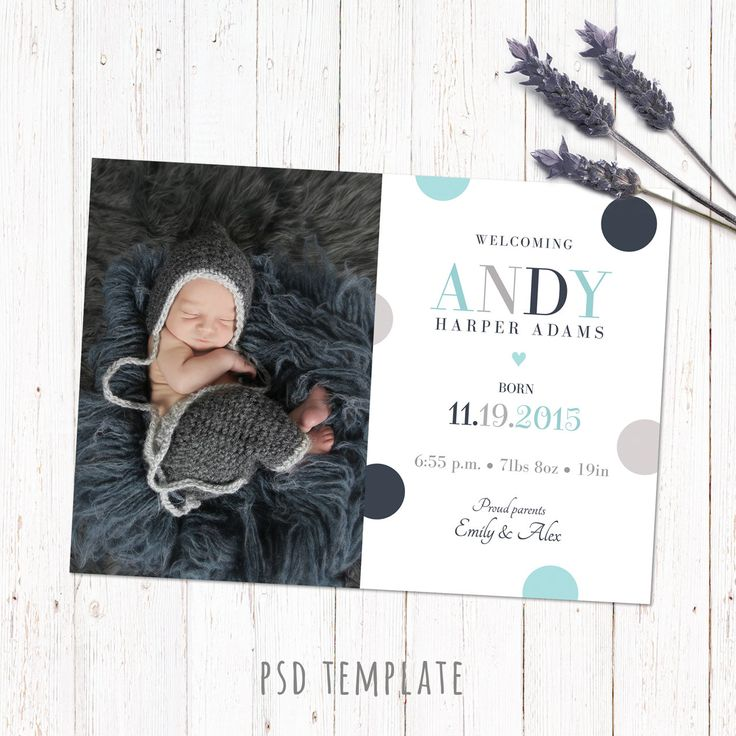 Birth announcement template card. Digital baby boy birth card for instant download. Fully editable Photoshop PSD file. Size 5x7 inches. by PenguinGraphics on Etsy