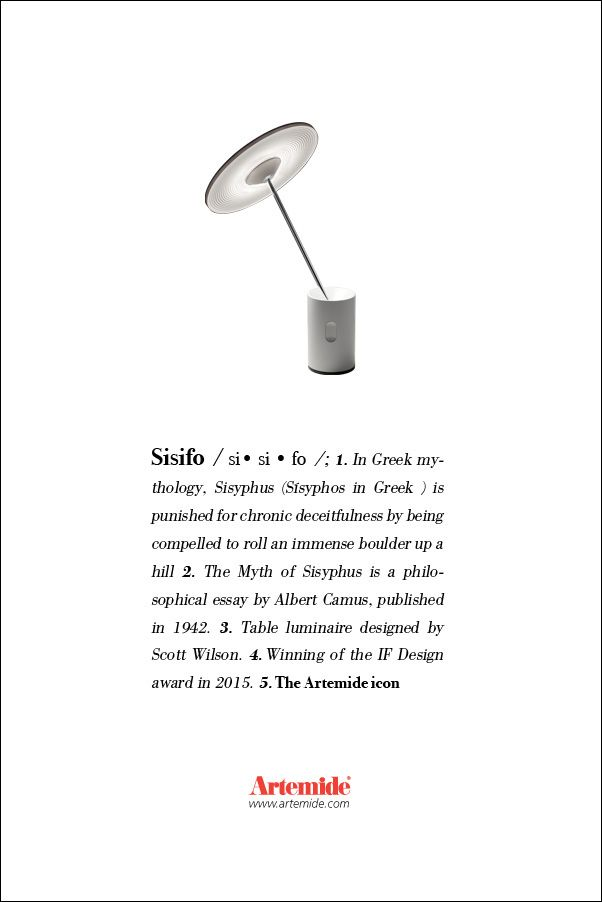 #SISIFO, a lamp with original proportions and a beautiful light effect #design Neil Poulton In our #ArtemideDictionary