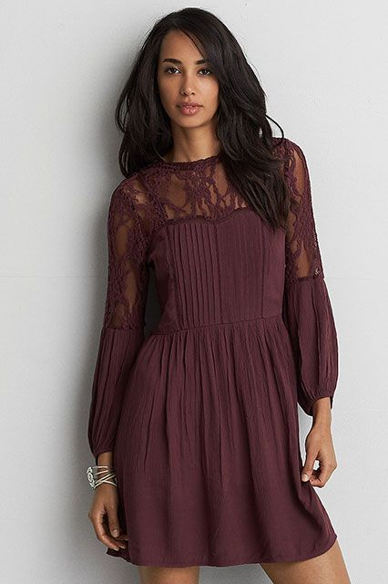 The Top Dress Trends On Pinterest — & How To Copy Them #refinery29 http://www.refinery29.com/2016/11/128396/pinterest-most-pinned-dresses-fall-2016#slide-2 Play with texture and show some skin with this easy skater dress.AEO Pintucked + Lace Fit & Flare Dress, $59.95, available at American Eagle Outfitters....
