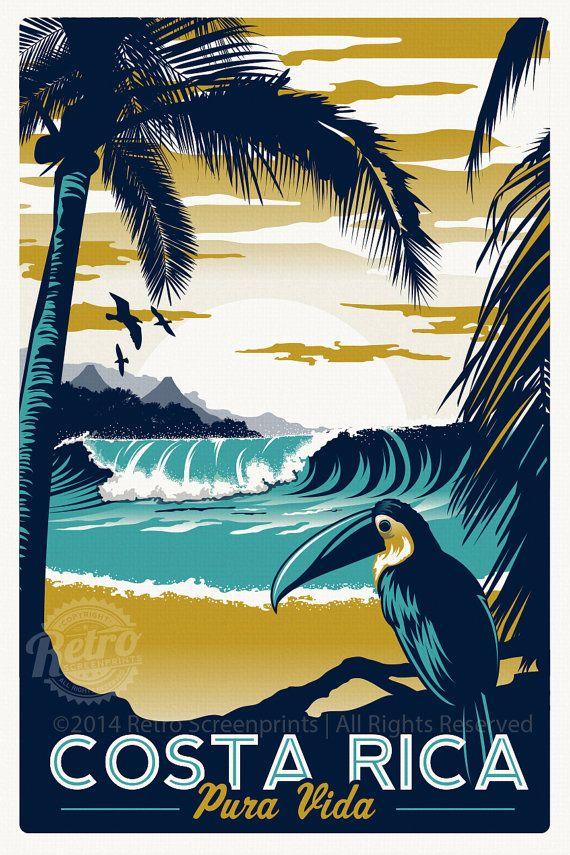 Costa Rica Retro Vintage voyage affiches sérigraphie