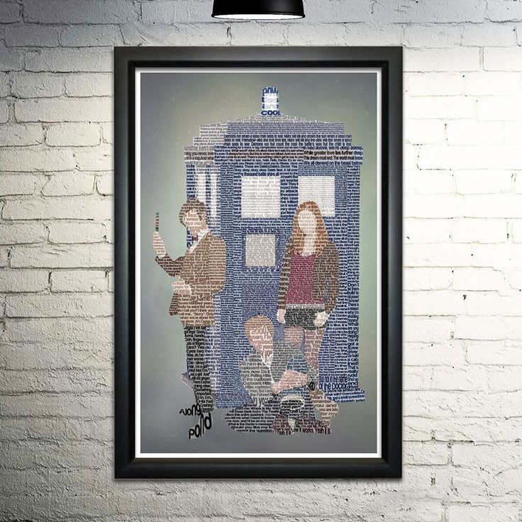 """The Eleventh Doctor word art print, 11x17. This print is made entirely out of words! The image shows the Eleventh Doctor and the Ponds, formed with quotes from the Eleventh's entire run. When you purchase this print, you'll be finding more of your favorite quotes and scenes for hours. This is an 11x17"""" image printed on archival quality paper. Please note this is a print only, unframed."""