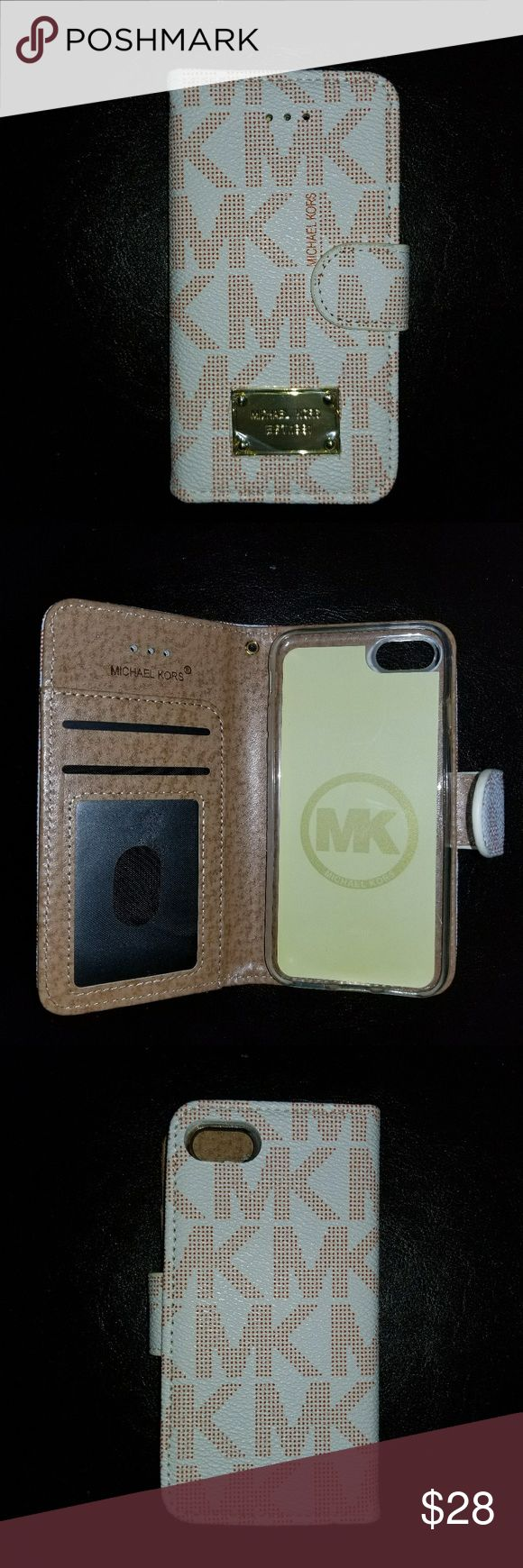 New MK Case Wallet for iPhone 7 Flip Case Wallet, has room for cards and cash. Turns into a stand too. Has a stunning bling magnetic clasp that keeps the case closed  Easy access to control ports, cameras and buttons Protect your cell phone from damage scratches, shock Luxury case Michael Kors Accessories Phone Cases