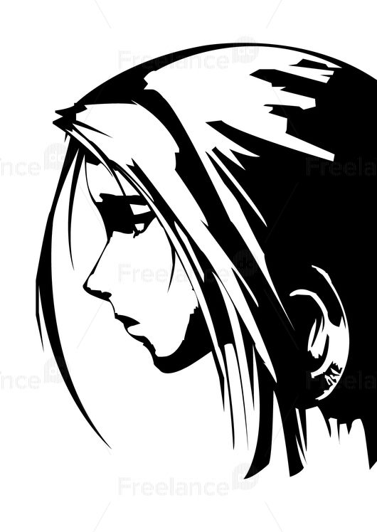 Anime girl. Ideas for tattoos. Buy ready-made logos and vector images.