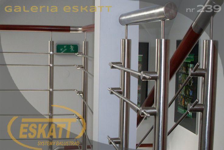 Stainless steel balustrade, with stainless steel horizontal filling,wooden handle #balustrade #eskatt #construction #stairs