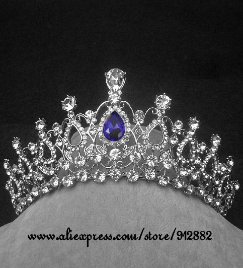 Hot European Silver Plated Regal Blue Rhinestones Quinceanera Flower Fine Vintage Luxury Royal Tiaras And Crowns Water Drop