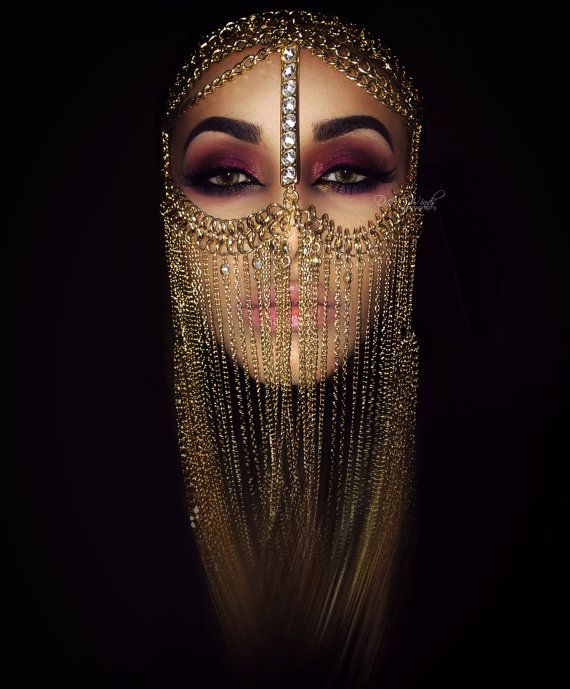 Chain Face Veil with swarovski crystals by TribalVault on Etsy