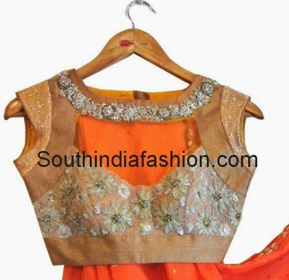 High Neck Embellished Blouse by Anjali Sharma