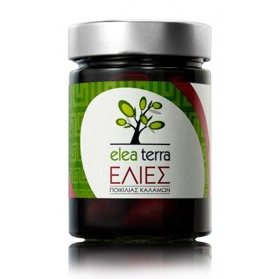"""Olives of variety """"Kalamon"""" """"Elea Terra""""  Olives of variety """"KALAMON"""" is leading rural Greek product and is compared as the black caviar of our country."""