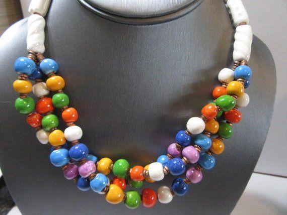 Multistrand Necklace Vintage Ceramic Colorful Beaded White Cylinder Handcrafted Vintage