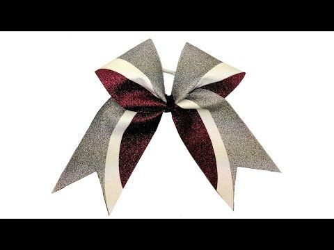 DIY Kick Swish Glitter Vinyl Cheer Bow With Cheer Bow Supply - Silhouette Templates - YouTube