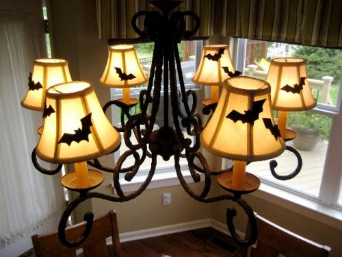 How to Make Halloween Lamp Shades. Felt sticks to most lamp shades with no glue :-) Change out the designs for different holidays.