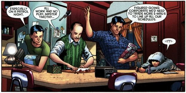 Ice cream and movie night at Wayne Manor. Dick and Tim don't even have to look at each other to throw/catch the ice cream scoop. (Batman and Robin #20)