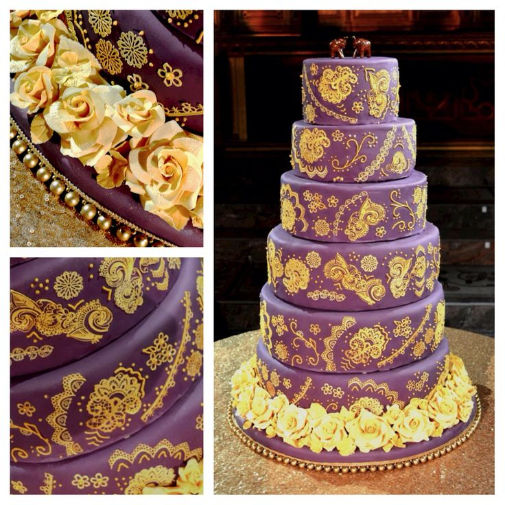Gold Wedding Cake Decorations: 17 Best Images About Purple & Gold Indian Wedding On