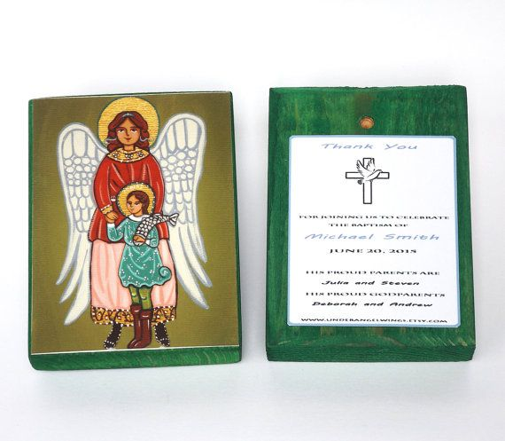 St Raphael prayer Wood block print Saint Raphael print on wood Christening favors Personalized favors Angel art blocks First communion favor