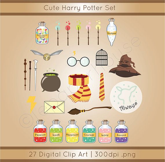 Cute Harry Potter theme clipart digital by lepaperhouse on Etsy