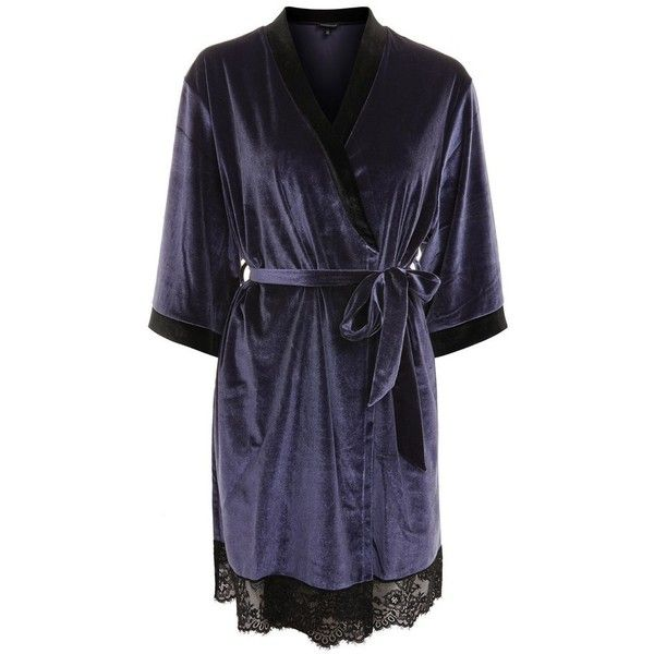 Women's Topshop Nocturne Lace And Velvet Robe (€50) ❤ liked on Polyvore featuring intimates, robes, lace dressing gown, bath robes, thin robe, thin bathrobe and lace bathrobe