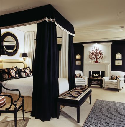 Black Master Bedroom. I like how the canopy separates the bed from the rest of the room.