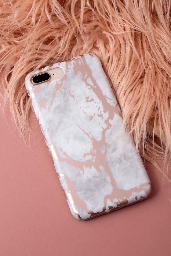 new arrival c600b 36b54 AdoreWe #Lulus - #Lulus White Marble Rose Gold Chrome iPhone 7 Plus ...