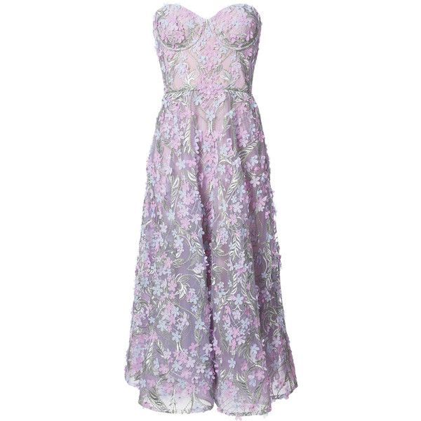 Marchesa Notte floral embroidered dress ($1,095) ❤ liked on Polyvore featuring dresses, gowns, marchesa, purple, floral midi dress, purple gown, floral embroidered dress, purple evening dress and floral applique gown