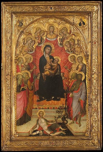 Madonna and Child Enthroned with Saint John the Evangelist, Saint Peter, Saint Agnes, Saint Catherine of Alexandria, Saint Lucy, an Unidentified Female Saint, Saint Paul, and Saint John the Baptist, with Eve and the Serpent; the Annunciation, 1385-90, Paolo di Giovanni Fei (Italian, San Quirico, active by 1369–died 1411)