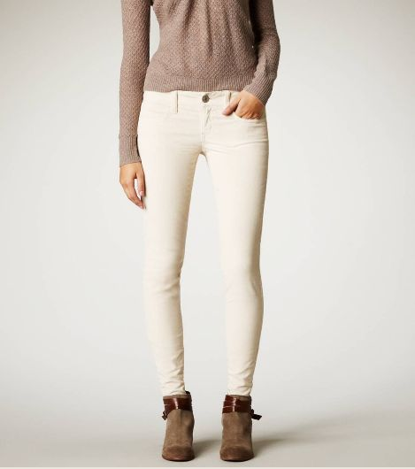 Cream corduroy skinny jeans