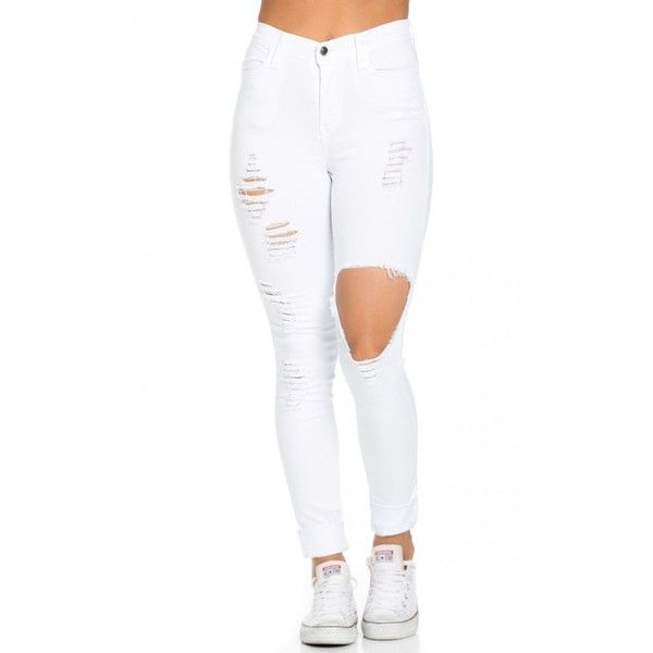 Best 25  White ripped jeans ideas on Pinterest | White ripped ...