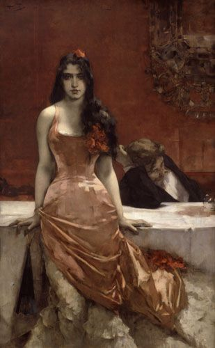 Circe By Charles Hermans - 1881 A contemporary (for the artist) Circe setting with the Ulysses stand-in getting the worse of it.Art Contrarian: Molti Ritratti: Circe