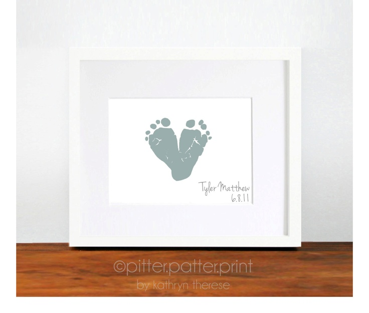 Gift for New Dad Baby Footprint Heart Gift by PitterPatterPrint