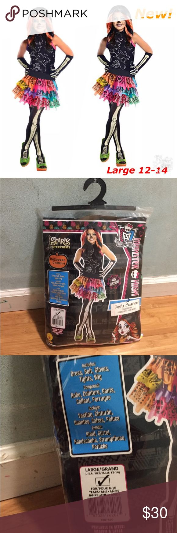 Skelita Calaveras Monster High Girls Costume New Includes:  -Dress -Belt  - Gloves -Tights -Wig  Brand new!   Large 12-14 For 8-10 Years Costumes Halloween