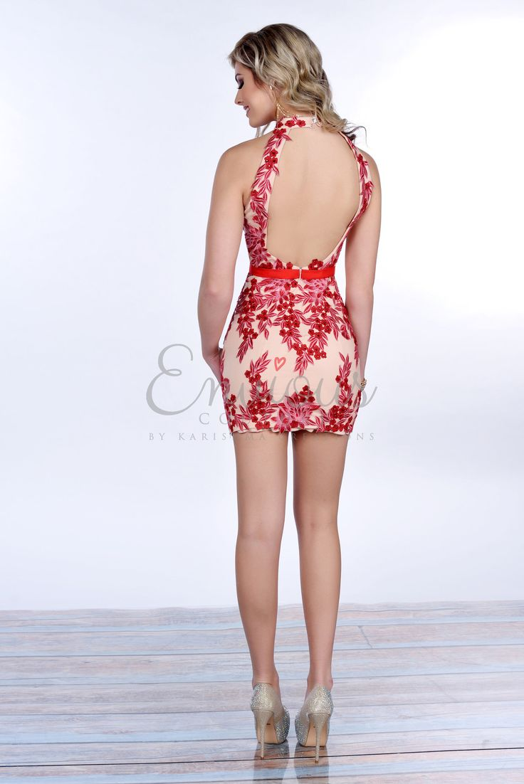 Envious Couture 16285 Red/Nude Short Dress