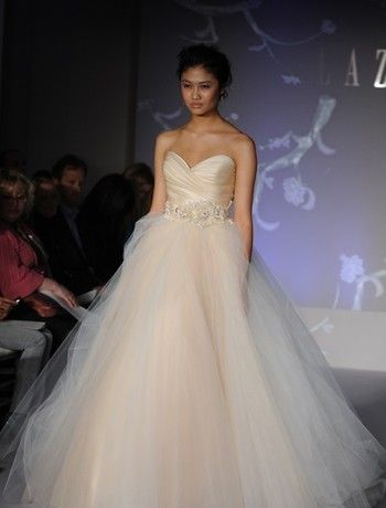lazaro princess/ball gown wedding dress with sweetheart neckline and natural waist waistline