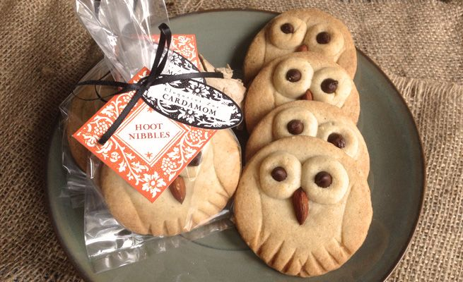 Hoot Nibbles: Cardamom Shortbread Cookies from My Own Ideas blog #recipe #cookie #owl