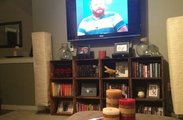 Love the way our living room is coming together. Decor tv stand bookshelf DIY