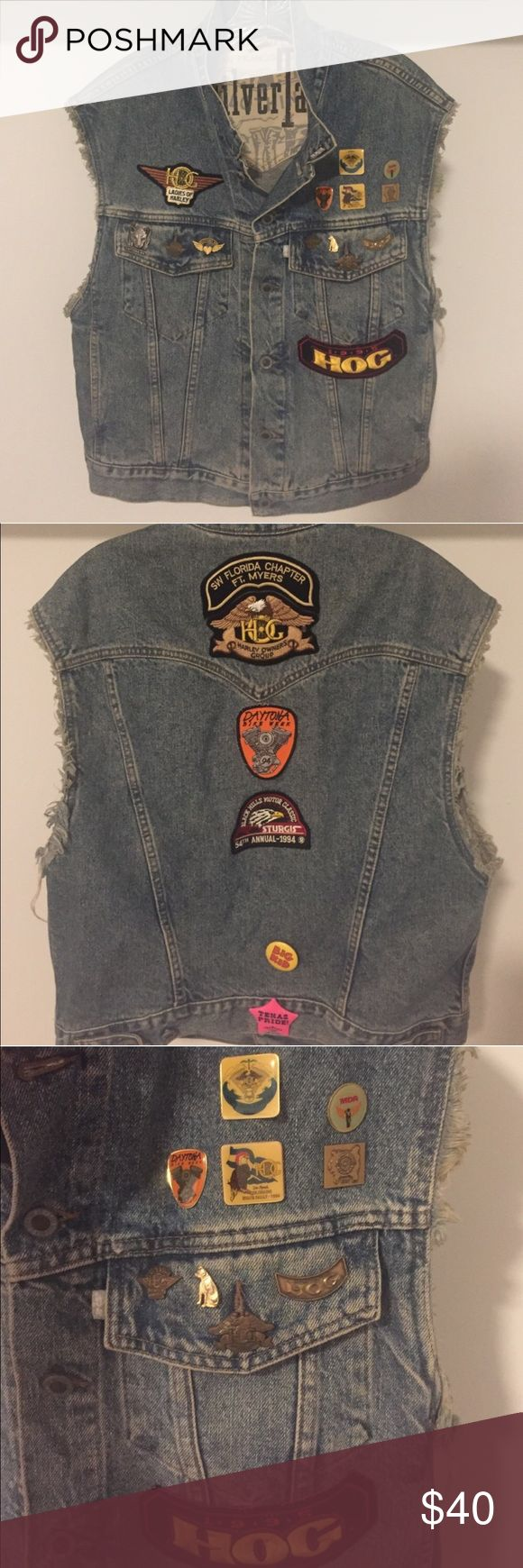 Levi's vest w biker patches / pins Really cool 90's oversized vest. Full of different pins, mostly related to Harley Davidson Levi's Jackets & Coats Vests