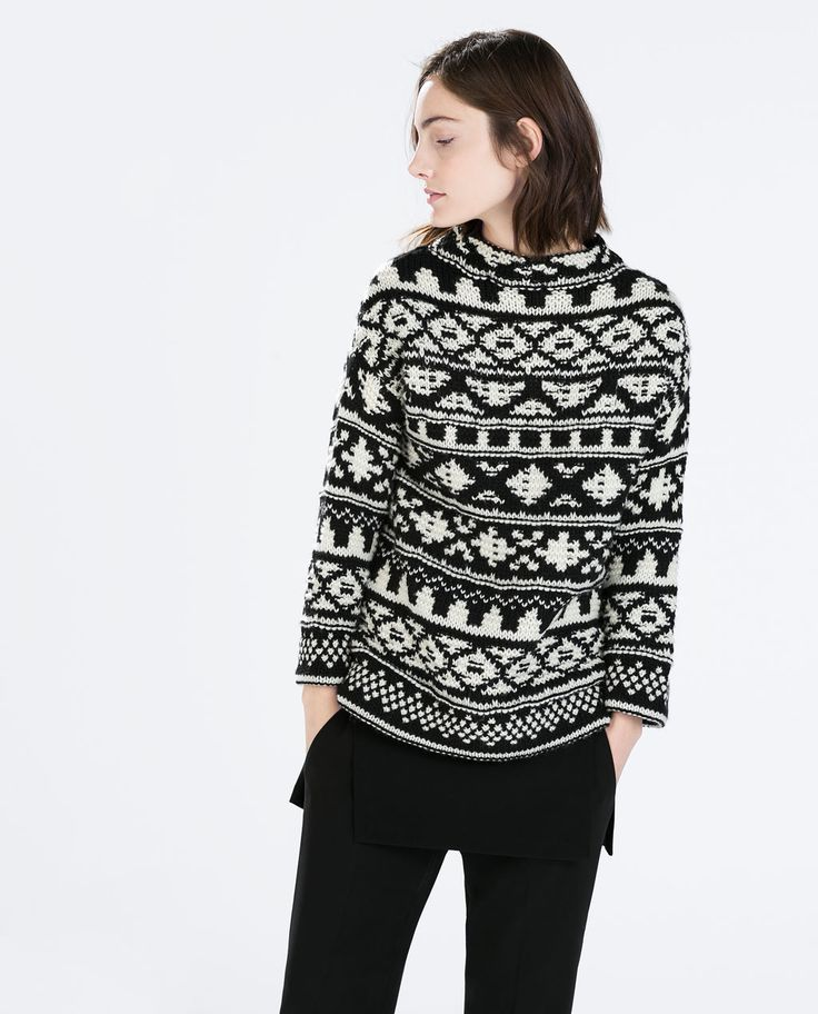 Image 2 of JACQUARD ROLLNECK SWEATER from Zara