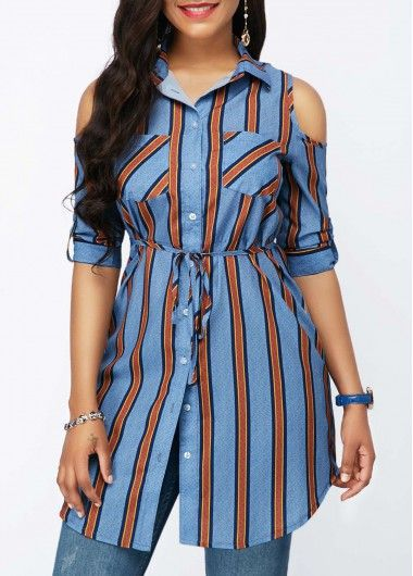 256a71d5a5688 Roll Tab Sleeve Belted Striped Cold Shoulder Shirt on sale only US 33.08  now