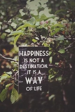 """Happiness is not a destination it is a way of life."" Quote"
