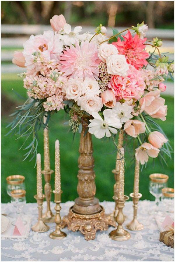 Bronze glitter rustic chic centerpiece wedding florals