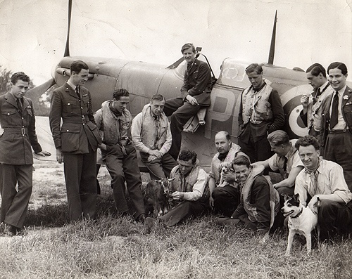 609 Squadron RAF, Biggin Hill, Kent, England, with mascots -  Battle of Britain 1940