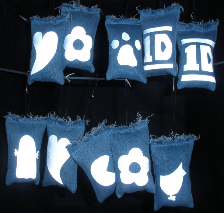 stuffed safety reflectors from old jeans