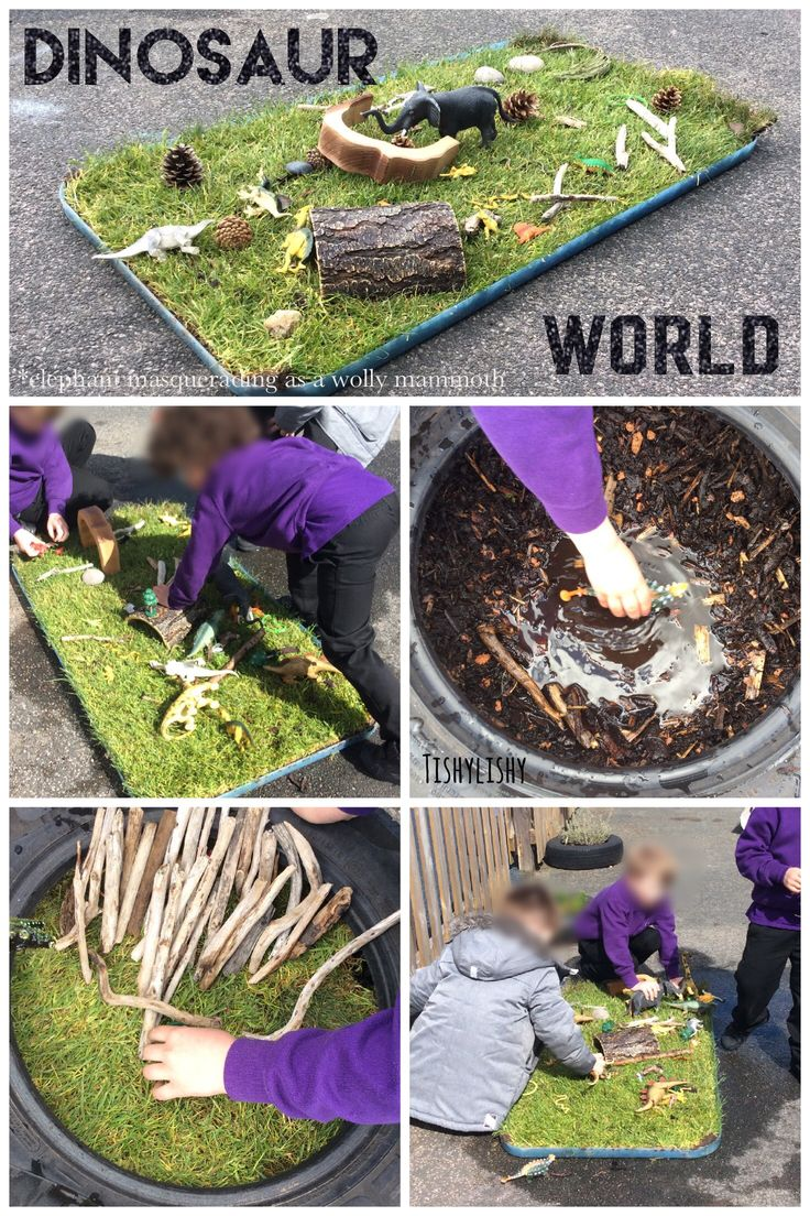 Small world tray with turf in a water tray lid. Set up here with a dinosaur small world.