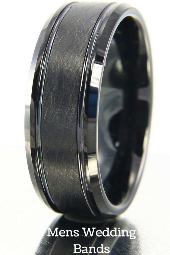 8mm black tungsten brushed ring with channel grooves black tungsten wedding bandsmen