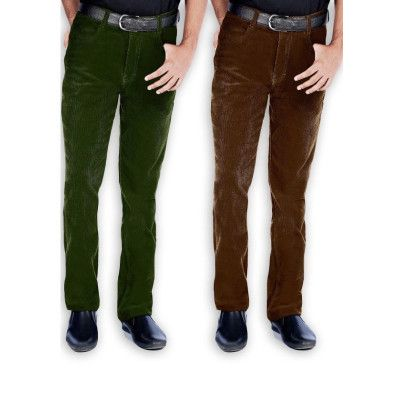 Mens Corduroy 5 Pocket Regular Fit Green::Brown Trouser-  Both Only Rs.1,598   urry .... Nice shop to select mensware.