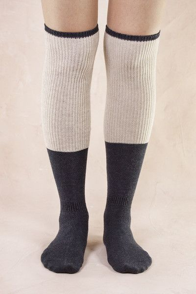 Wool, Cotton and Spandex texture defines comfortable over-the-knee socks shaped from wool blend. Sure to ooze with comfort with a touch of style!- Material: 45%